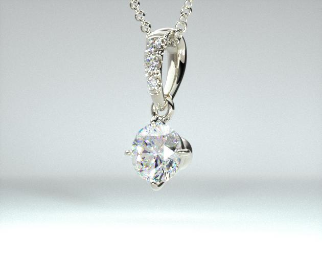 Platinum 0.25ct H-I, SI Pave Bail Diamond Pendant