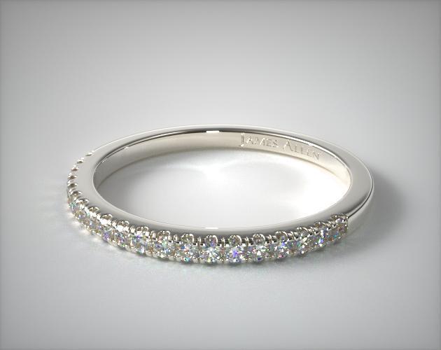Wedding Rings Womens Diamond 14k White Gold Single Row Diamond Ring Item 64296