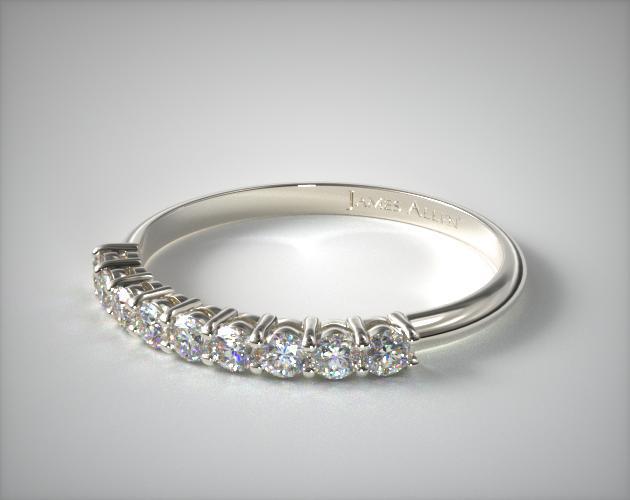 prong set shaped diamond wedding ring 58ct tw 14k white gold 8818w14 - Womens Diamond Wedding Rings