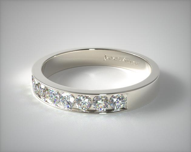 14K White Gold 0.24CTW. Channel Set Round Shaped Diamond Wedding Ring