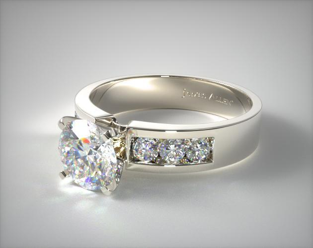 Platinum Channel Set Round Shaped Diamond Engagement Ring