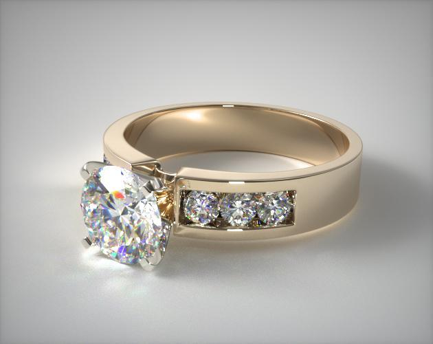 14K Yellow Gold Channel Set Round Shaped Diamond Engagement Ring