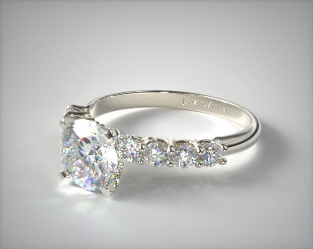 14K White Gold 0.50ct Prong Set Round Shaped Diamond Engagement Ring