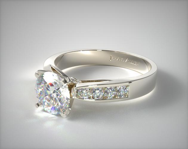 14K White Gold 0.16ct Channel Set Round Shaped Diamond Engagement Ring