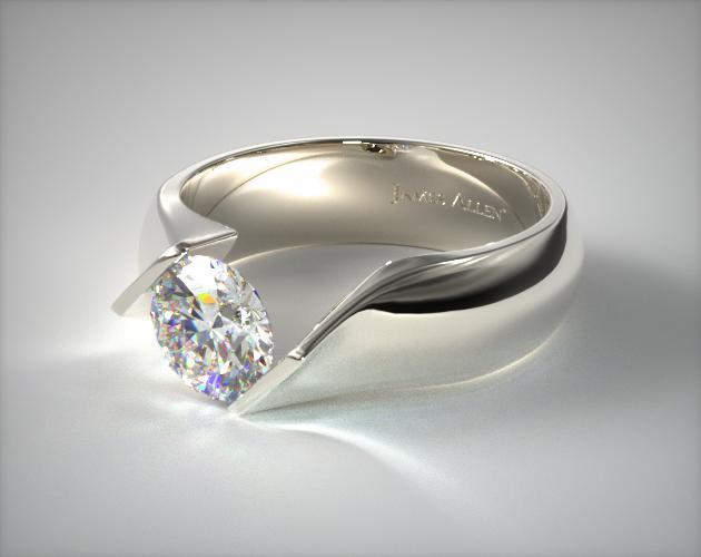 Contoured Twist Tension Set Engagement Ring Platinum 9003p