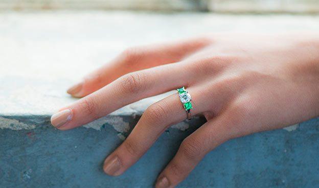 Three Stone Step-Cut Emerald