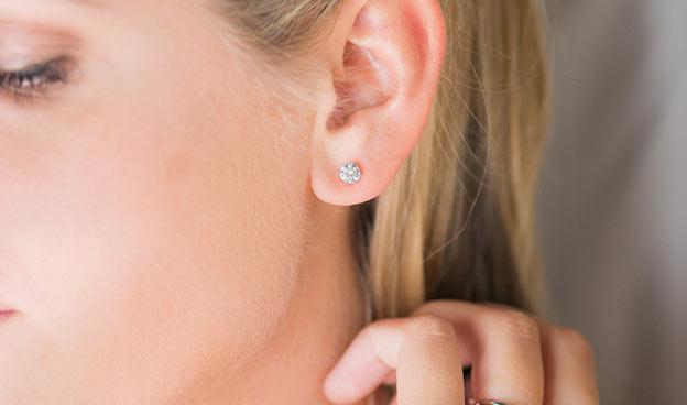 1/4ctw Ladies Four Prong Round Brilliant Diamond Earrings
