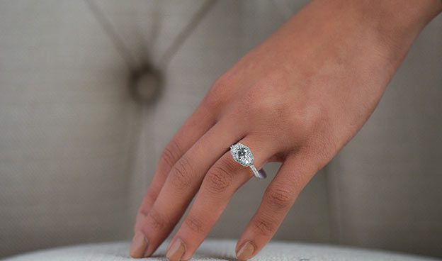 Pave Frame Three Stone Ring by Martin Flyer