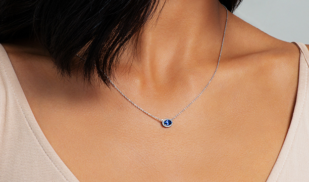 East-West Set Oval Halo Sapphire and Diamond Necklace (6x4mm)