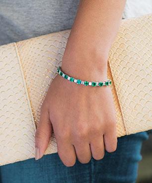 Emerald and Asscher Diamond Bracelet