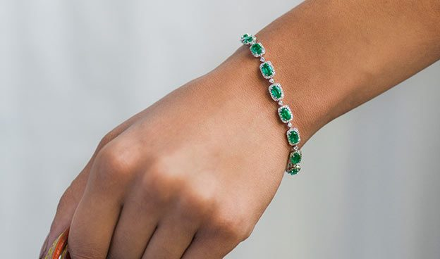 Emerald and Diamond Accent Bracelet