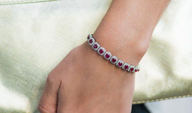 Ruby and Cushion Outline Diamond Bracelet