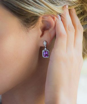 Micro Pave Radiant Pink Sapphire Earring (5.88ct)
