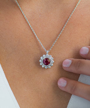 Floral Ruby Pendant