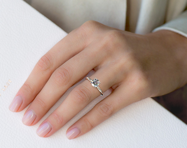 18K White Gold Diamond Pavé Basket Engagement Ring