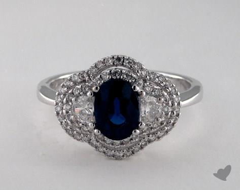 18K White Gold 1.10ct Oval Blue Sapphire Double Halo Ring