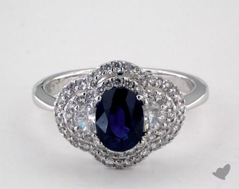 18K White Gold - 1.20ct - Oval - Blue Sapphire -