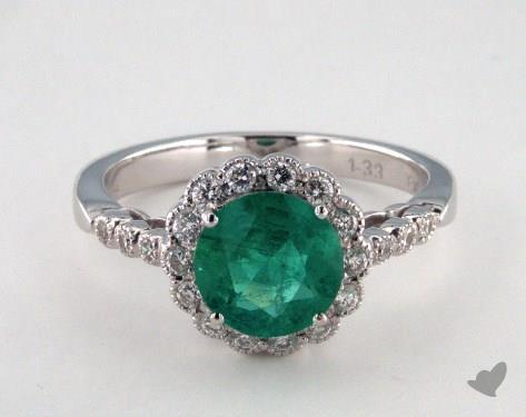 18K White Gold 1.33ct Round Green Emerald Scallop Halo Ring