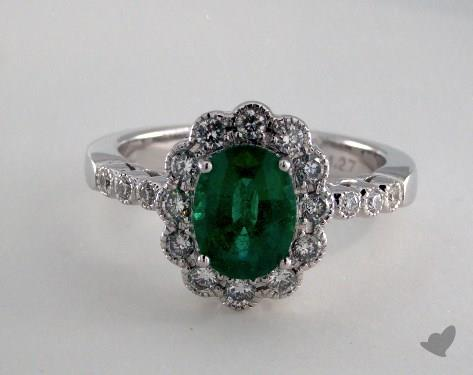 18K White Gold 1.27ct Oval Green Emerald Scallop Halo Ring