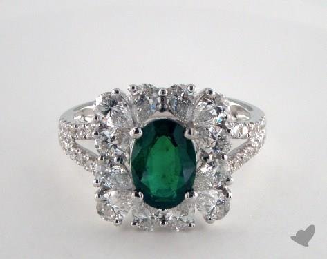18K White Gold 1.16ct Oval Shape Green Emerald Frame Ring