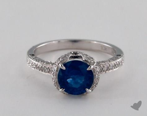 18K White Gold 1.62ct Round Blue Sapphire Halo Ring