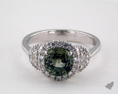 18K White Gold 1.76ct Cushion Shape Green Sapphire Ring
