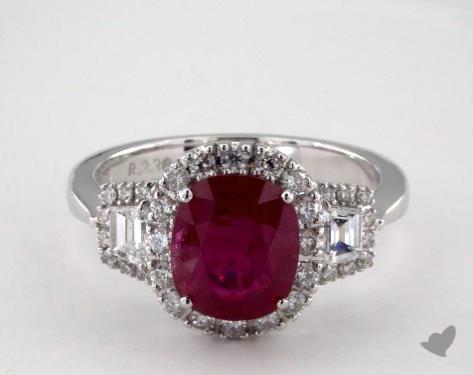 18K White Gold 2.38ct Cushion Shape Ruby Three Stone Halo Ring