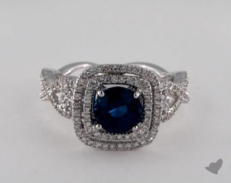 18K White Gold 1.58ct Round Blue Sapphire Double Halo Ring
