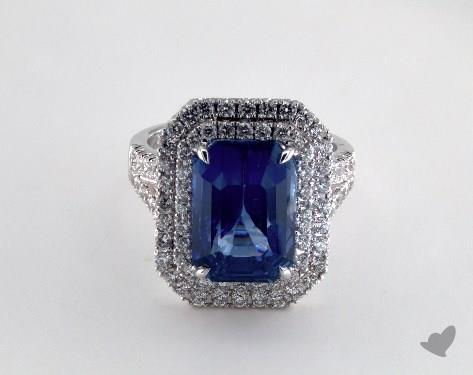 18K White Gold - 9.11ct Emerald- - Blue Sapphire - Skye Ring