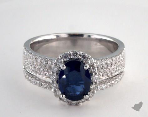 18K White Gold - 1.55ct - Oval - Blue Sapphire -