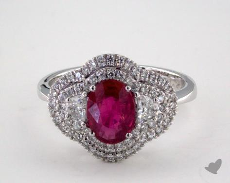 18K White Gold 1.20ct Oval Shape Ruby Double Halo Ring