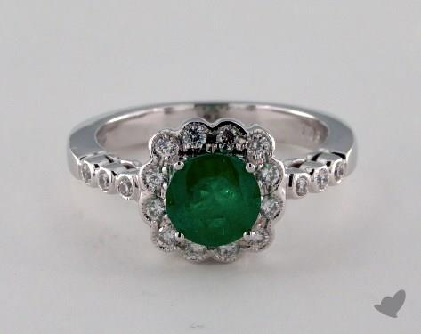 18K White Gold 1.03ct Round Green Emerald Scallop Halo Ring