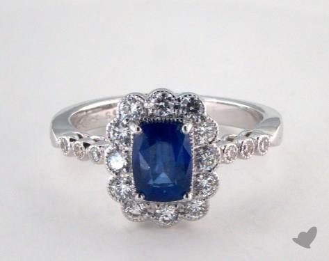 18K White Gold Scalloped Halo Blue Sapphire Ring