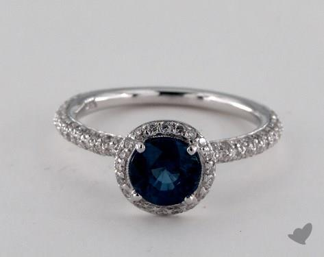 18K White Gold 1.13ct Round Blue Sapphire Milgrain Halo Ring