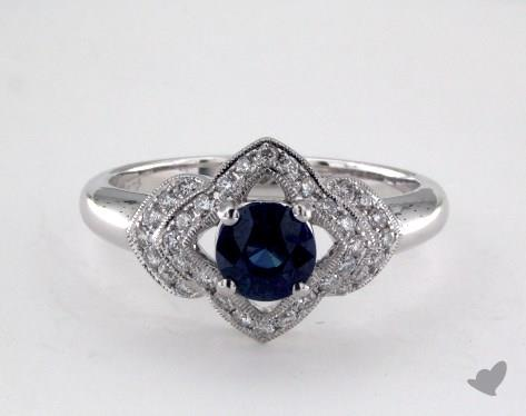 18K White Gold 0.75ct Round Blue Sapphire Lillian Ring