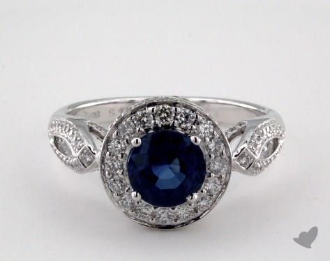 18K White Gold 1.22ct Round Blue Sapphire Engagement Ring