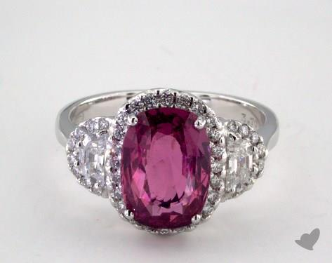 18K White Gold 3.70ct Oval Pink Sapphire Three Stone Halo Ring