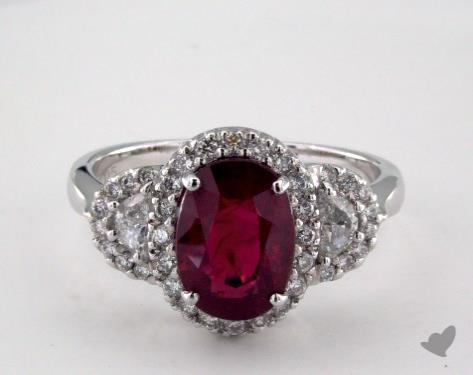 18K White Gold 3.05ct Oval Shape Ruby Ring