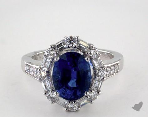 18K White Gold 3.60ct Oval Shape Blue Sapphire Baguette Halo