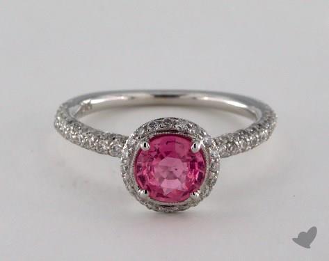 18K White Gold 1.00ct Round Pink Sapphire Milgrain Halo Ring