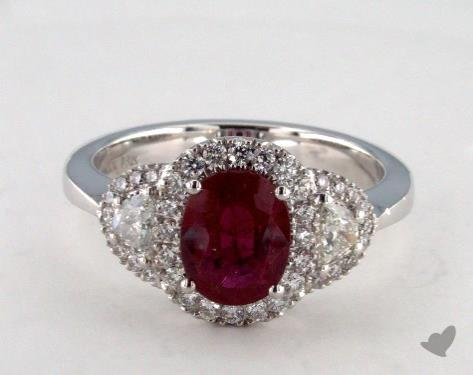 18K White Gold 1.42ct Cushion Shape Ruby Ring