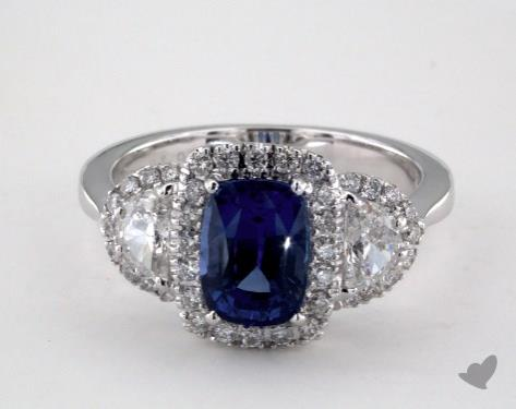 18K White Gold 1.93ct Cushion Shape Blue Sapphire Ring