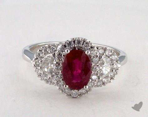 18K White Gold 1.13ct Oval Shape Ruby Ring