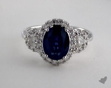 18K White Gold 1.91ct Oval Blue Sapphire Ring