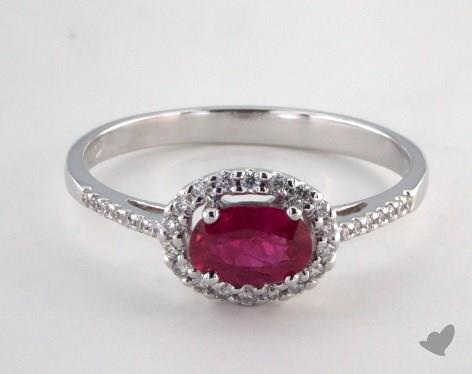 18K White Gold 0.53ct Oval Shape Ruby Halo Ring