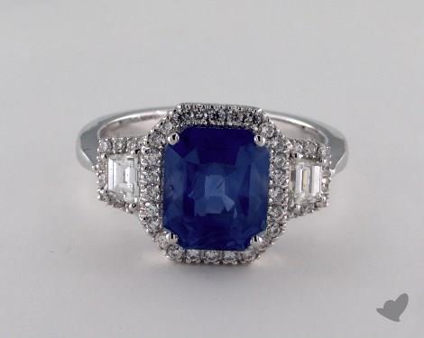 18K White Gold 3.76ct Emerald Shape Blue Sapphire Ring