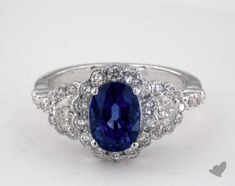18K White Gold 2.11ct Oval Blue Sapphire Ring