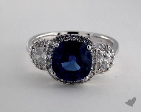 18K White Gold 3.15ct Cushion Shape Blue Sapphire Ring
