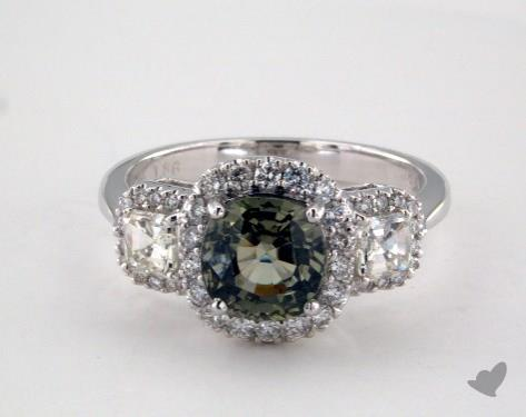 18K White Gold 1.86ct Cushion Shape Green Sapphire Three Stone Ring