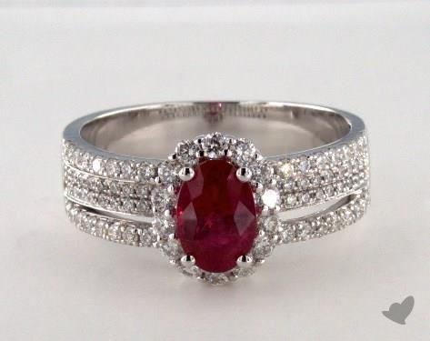 18K White Gold 1.02ct Oval Shape Ruby Hi Lo Ring